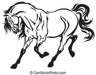 running horse  - horse tattoo black and white illustration