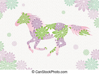 horse - running horse with flower pattern