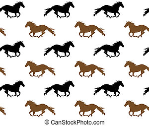 Running horses - Seamless repeating pattern of running...