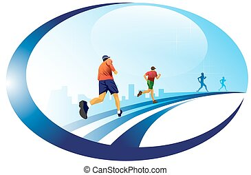 Running, 4 male runners, vector illustration