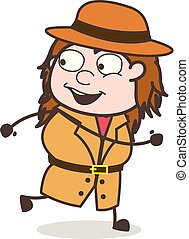 Running in Joy - Female Explorer Scientist Cartoon Vector