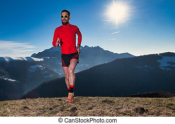 Running in unspoiled nature in the mountains