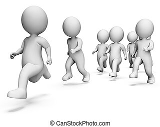 Running Jogging Shows Team Work And Characters 3d Rendering