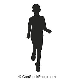 Running kid vector silhouette