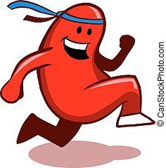 Running Kidney - Vector illustration of happy running kidney