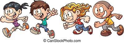 Running kids - Cartoon running kids. Vector clip art...