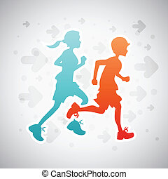 Running Kids - Vector illustration of boy and girl on...