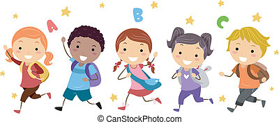 Illustration of Kids Running