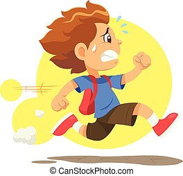 Running Late To School - A boy running hurriedly because he...