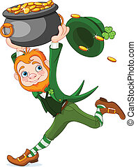 Running Leprechaun - Cute cartoon Leprechaun running with...
