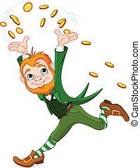 Running Leprechaun - Cute running Leprechaun throwing gold...