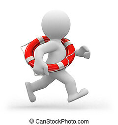 Running lifeguard - 3d human life-guard running with a life...