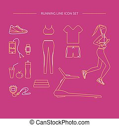 Running line icon set.