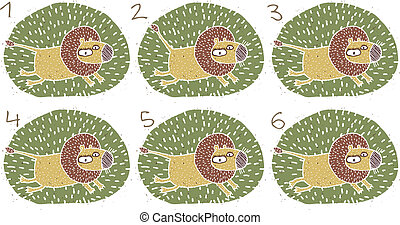 Running Lion Visual Game for children. Illustration is in eps8 vector mode! Task: Find two identical images (match the pair)! Answer: No. 3 and 4.