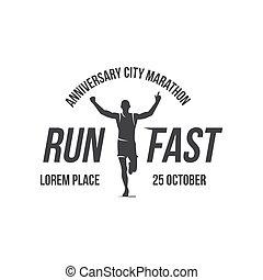 Running logo, marathon concept, sport activities, triathlon vector line icon
