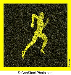 Running man. 3D Human Body Model. Black and yellow grainy...
