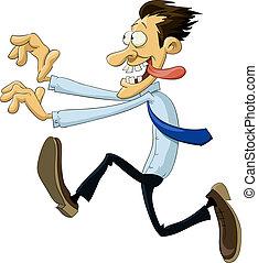 A man runs against a white background, vector