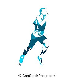Running man, abstract blue vector silhouette