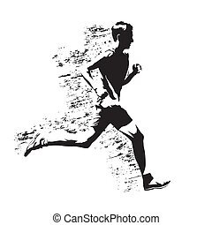Running man, abstract gungy vector silhouette
