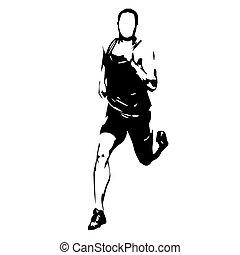 Running man, abstract vector runner illustration