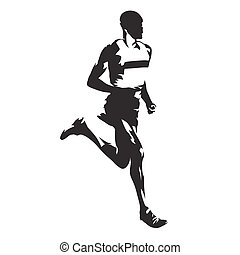 Running man, abstract vector silhouette