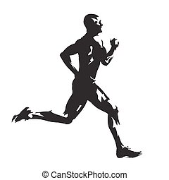 Running man, abstract vector silhouette, side view