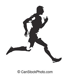 Running man abstract vector silhouette, side view
