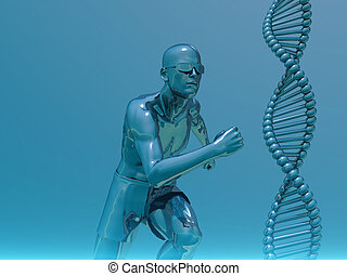 running man and helix - DNA strands and running man - 3d...