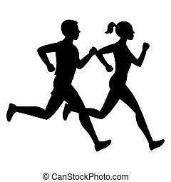 Running man and woman black vector silhouettes