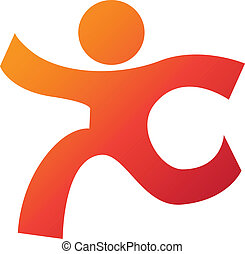 Beautiful corporate logo design template for your business, a running man figure in yellow and orange gradient