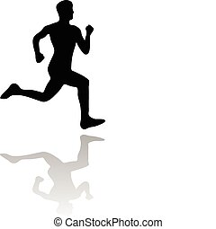 running man vector silhouette isolated on white