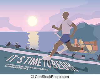 Running man fitness poster - Running man outdoor sport...