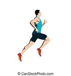 Running man, flat vector illustration