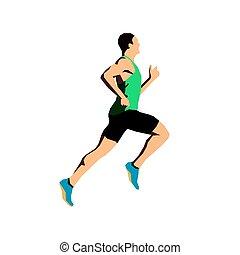 Running man, flat vector illustration. Sports man. Abstract runner