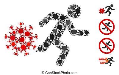 Running Man from Coronavirus Mosaic of Corona Virus Elements