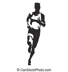 Running man, front view vector silhouette