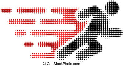 Running Man Halftone Dotted Icon with Fast Rush Effect