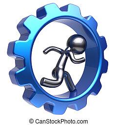 Running man human character inside gearwheel cogwheel