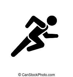 Running Man Icon on White Background. Vector illustration