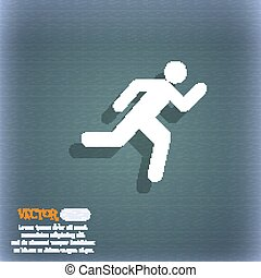 running man icon symbol on the blue-green abstract background with shadow and space for your text. Vector