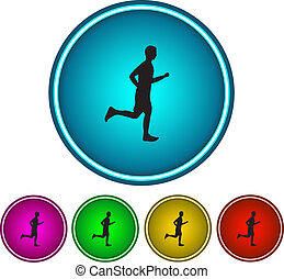 Running man. Icon. Vector - Running man. Set of color vector...