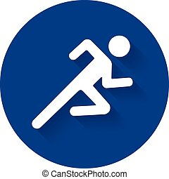 Running man icon white silhouette?