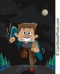 Illustration Featuring a Man Running in the Middle of the Night