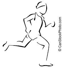 Running man - Illustration of male runner on white...