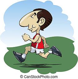 Running man - Illustration of a happy man running in the...