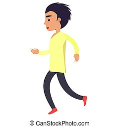 Running man in yellow shirt and black trousers on white