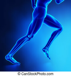 Running man legs with visibel bones