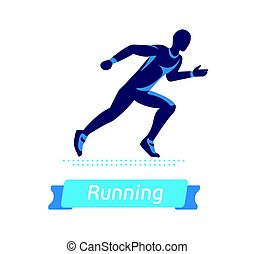 Running man logo or badge. Vector silhouette of runner. Sport emblem. Flat label concept.