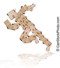 Running man made of boxes on white