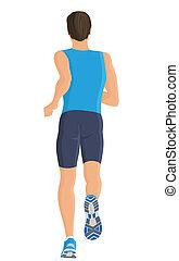 Running man - Male running full length body of healthy...